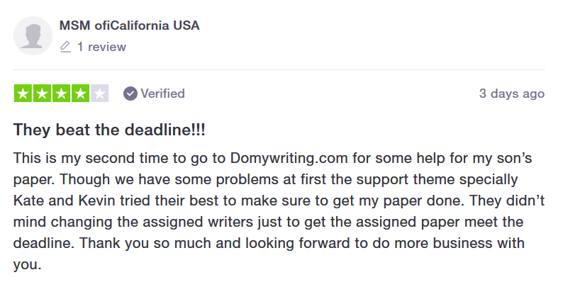 Domywriting.com Feedback