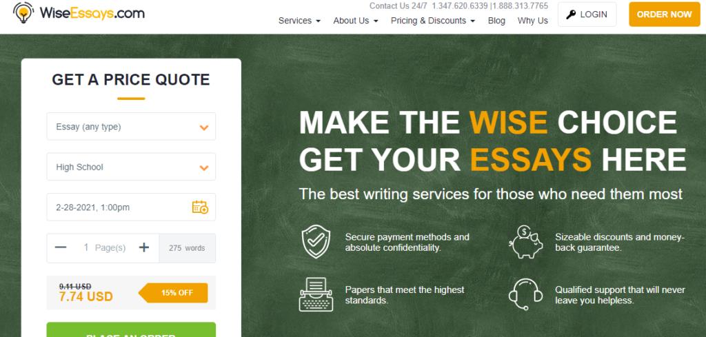 wiseessays-homepage